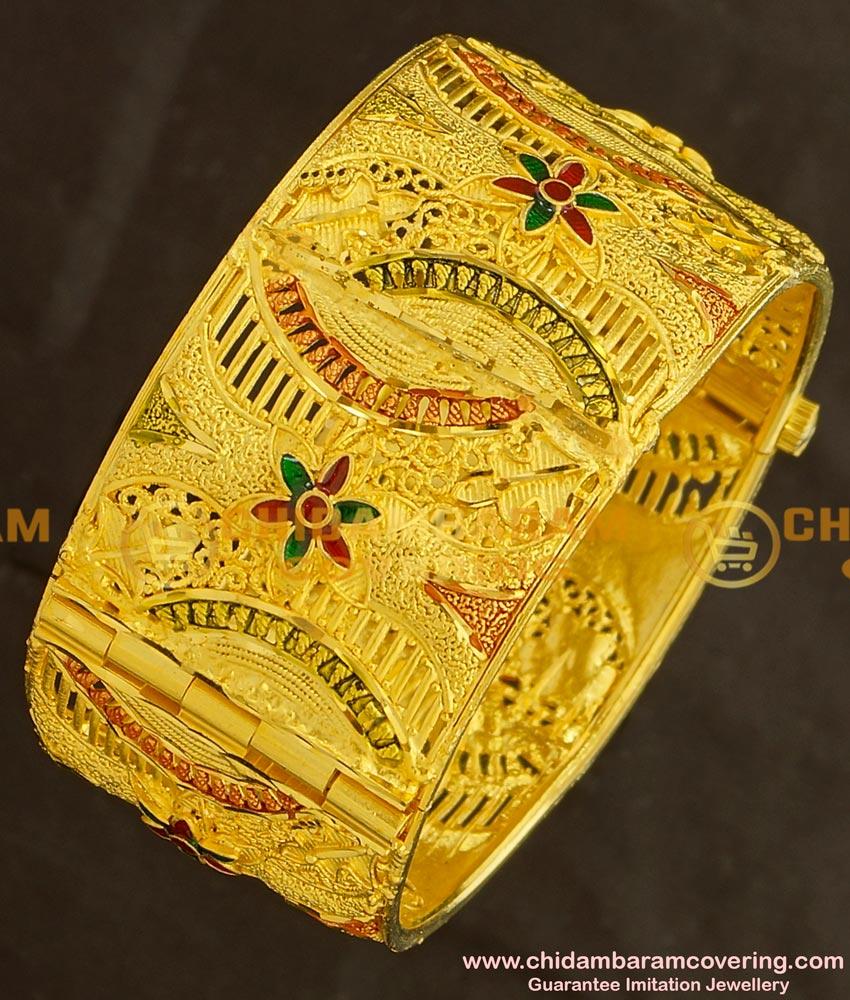 BNG136 - 2.6 Size Gold Design Enamel Finish Forming Gold Broad Kada Bangle Designs Bridal Jewellery Online