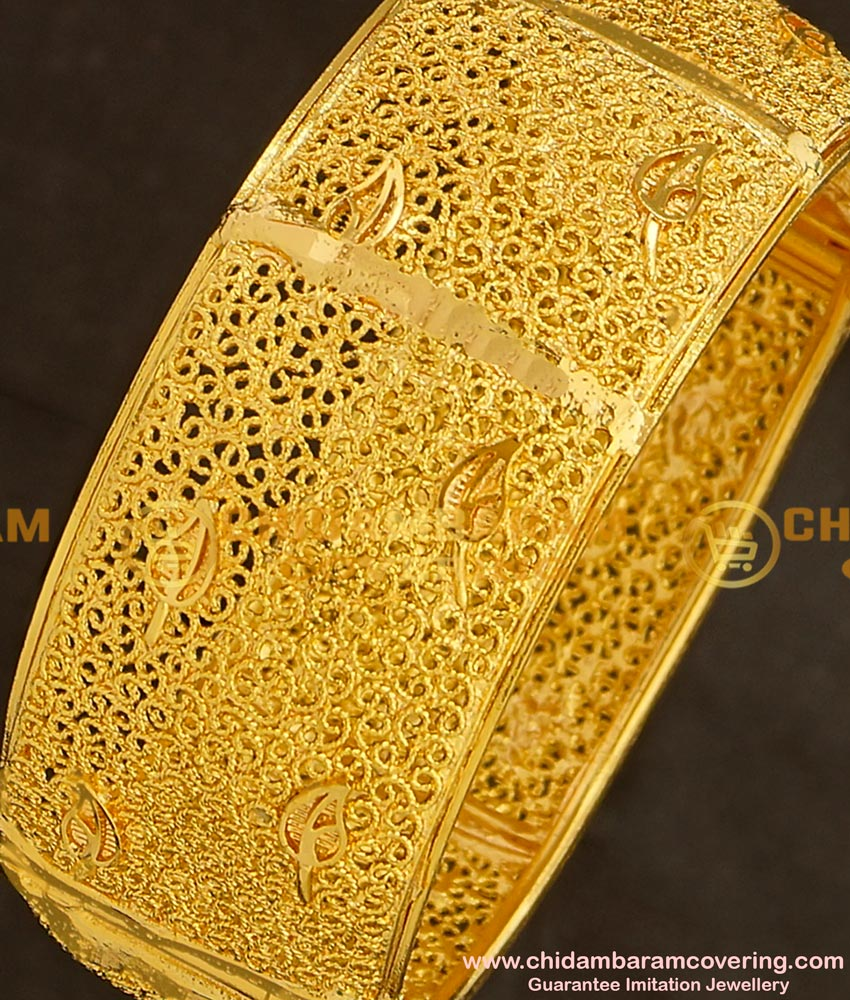 BNG138 - 2.6 Size Latest gold look Kada Bangle Designs 1 Gram Guarantee Bangles Online