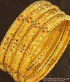 BNG142 - 2.6 Size Bridal Wear Light Weight Die Gold Bangles for Silk Saree