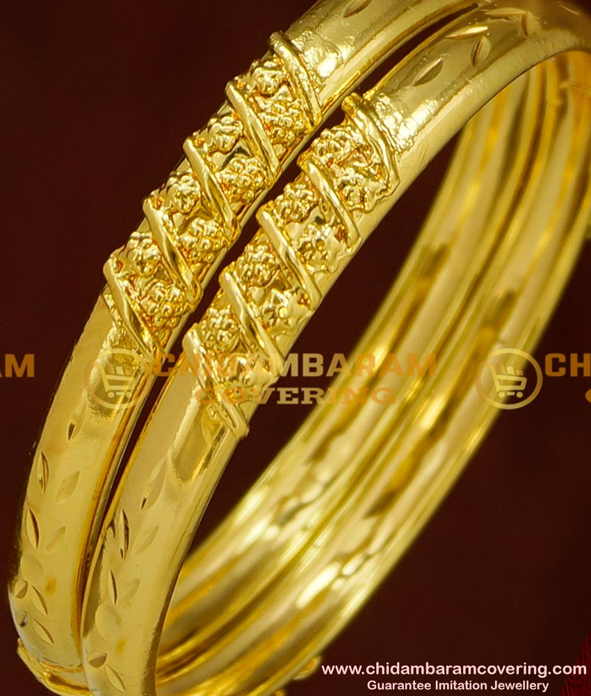 BNG150 - 2.4 Size One Gram Gold Bangles South Indian Guarantee Bangle Online