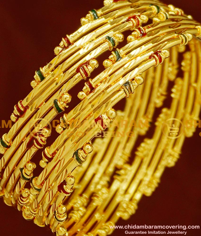 BNG154 - 2.6 Size Real Gold Look Bamboo Design Enamel Bangles Gold Plated Jewellery Online