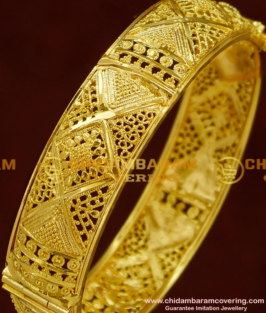 BNG161 - 2.4 Size Stunning Gold Party Wear Broad Single Kada Bangle Online Shopping