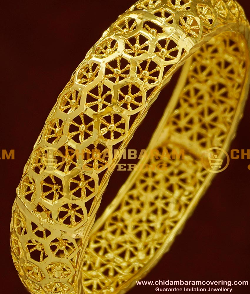 BNG165 - 2.6 Size 1 Gram Gold Party Wear Broad Single Piece Designer Bangle Collection Online