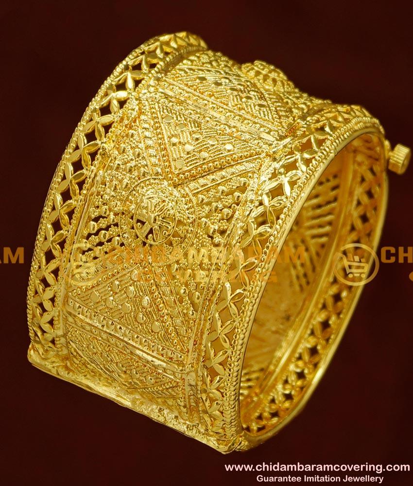 BNG166 - 2.4 Size Latest Gold Look Bridal Wear Broad Single Piece Screw Open Kada Bangle Online