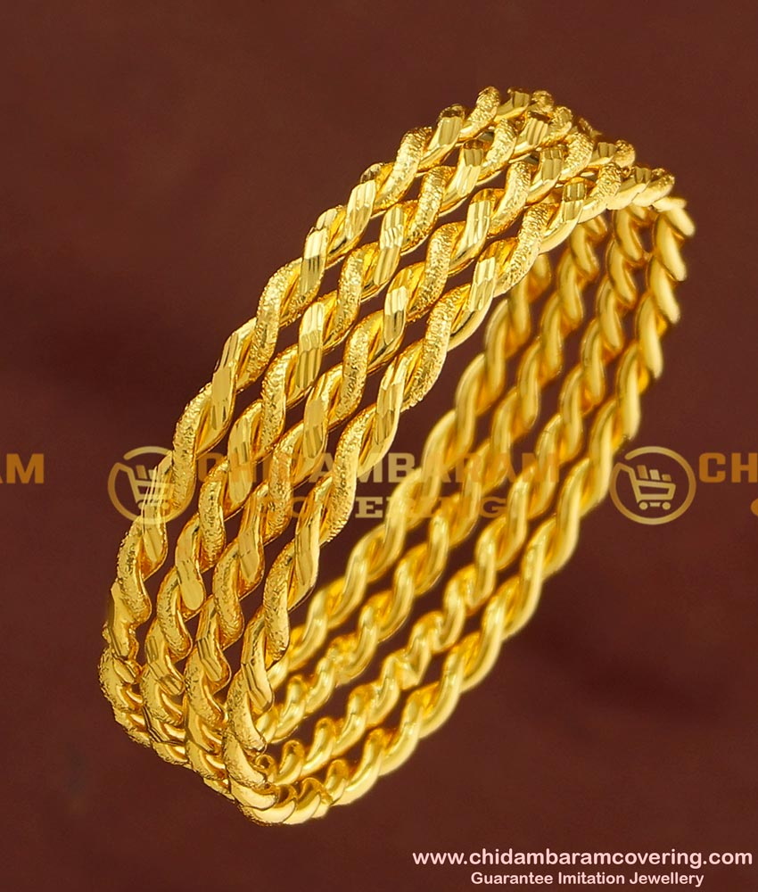 BNG169 - 2.6 Size Gold Plated Thick Metal Daily Wear Twisted Bangles Design 4 Pcs Set Bangles Online
