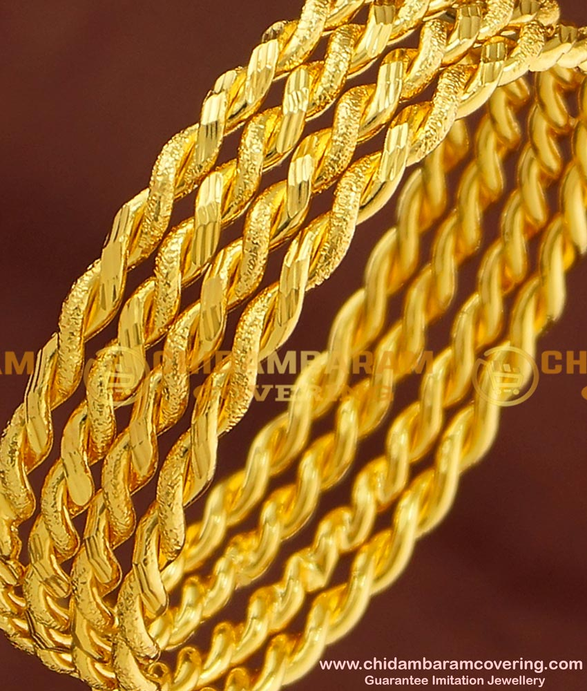 BNG169 - 2.4 Size Gold Plated Thick Metal Daily Wear Twisted Bangles Design 4 Pcs Set Bangles Online