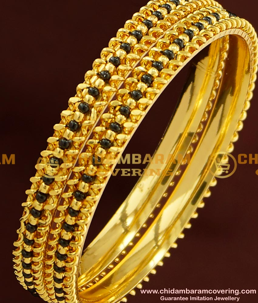 BNG173 - 2.8 Size Latest Design Black Beads Bangle Karimani Bangles for Women