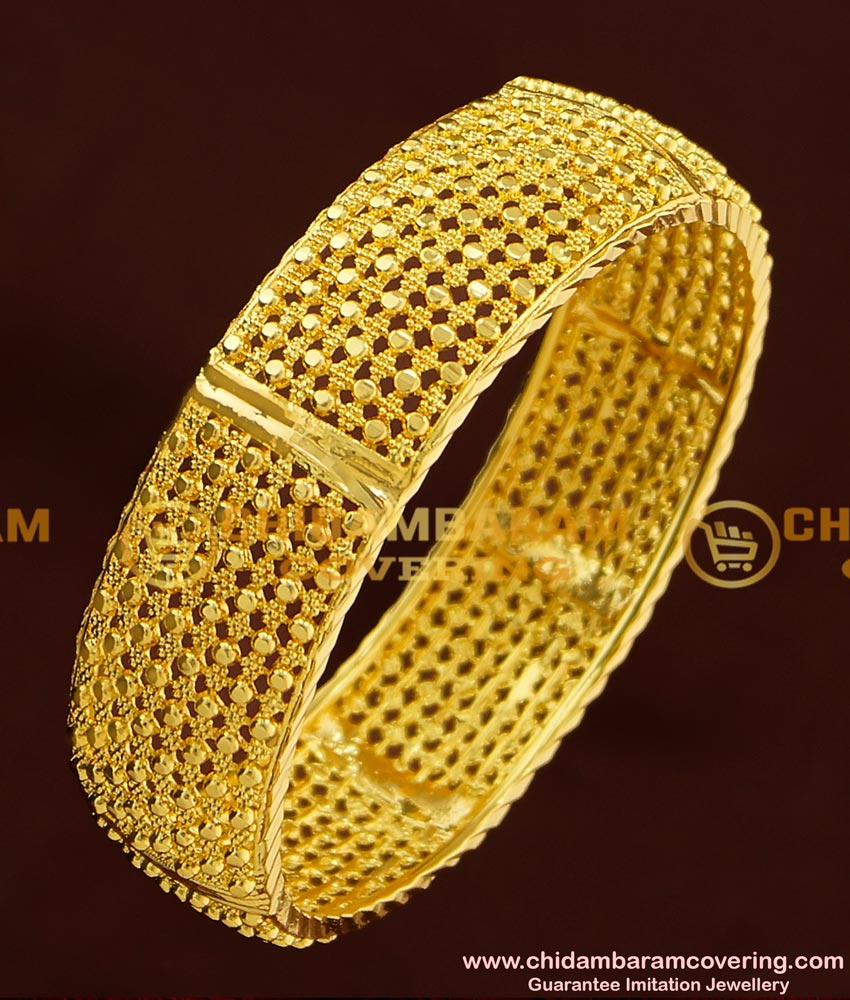 BNG175 - 2.8 Size Gold Look Designer Single Broad Bangle Design for Ladies
