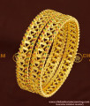 BNG176 - 2.6 Size Beautiful Heart Design Ruby Emerald Stone Bangles Design Online
