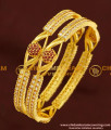 BNG178 - 2.6 Size Elegant Finish Red and White Designer AD Stone Bangles for Women