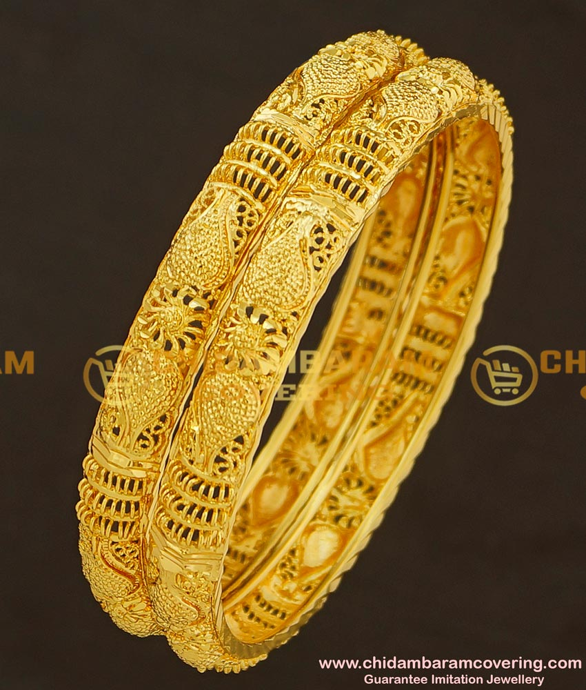 BNG183 - 2.10 Size Latest Gold Design Bridal Wear Bangles One Gram Gold Bangles Collection Online