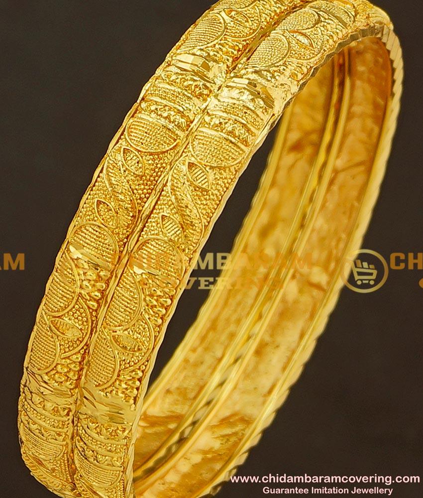 BNG186 - 2.10 Size Stunning Gold Kerala Bangles Design Guarantee Bangle Buy Online
