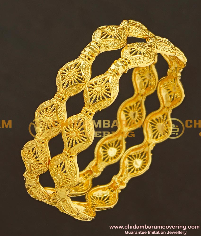 BNG187 - 2.6 Size Unique Gold Look Light Weight Party Wear Bangles Design One Gram Jewellery Online