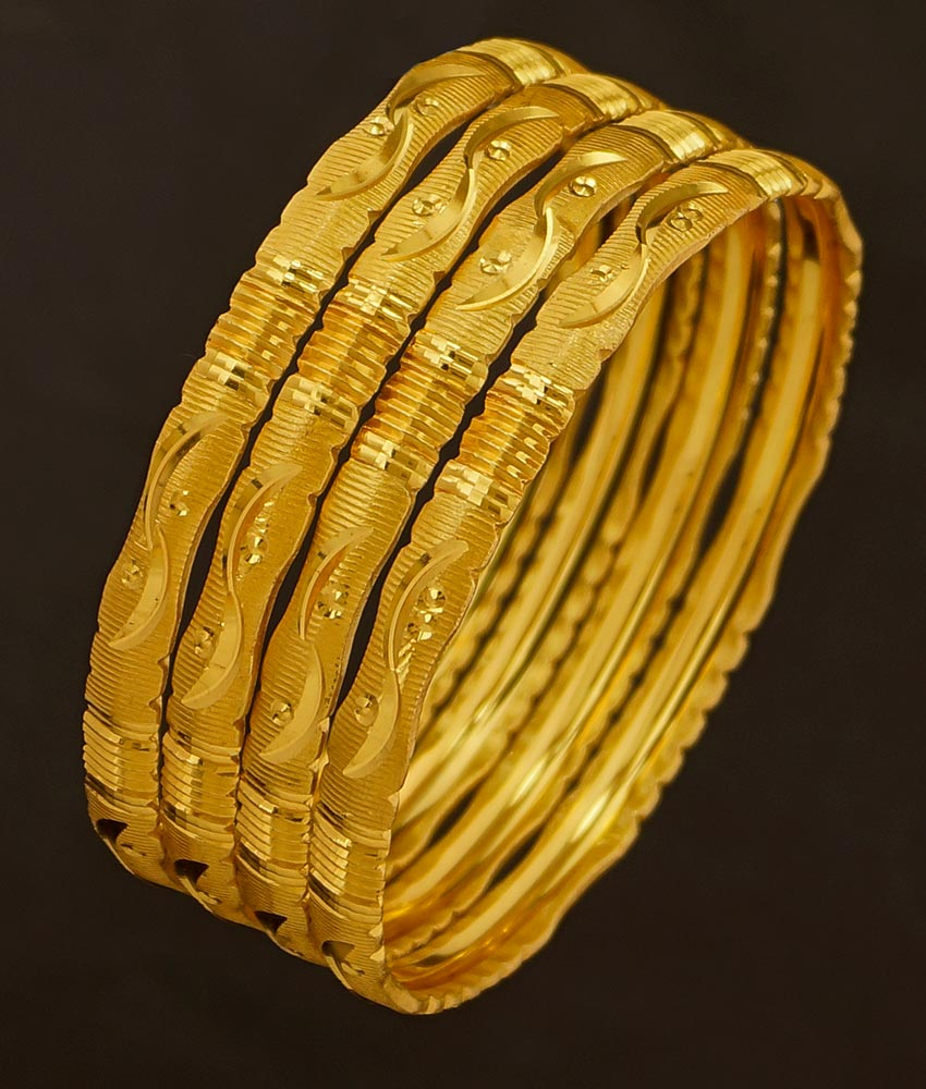 BNG193 - 2.8 Size Light Weight Gold Cutting Bangle Design Dye Gold Set Of 4 Pieces Bangle for Women