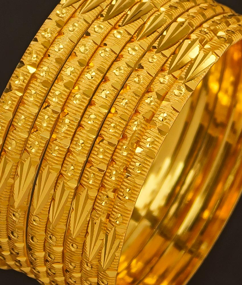 BNG197 - 2.8 Size Traditional Plain Gold Color Bangle Set Of 8 Pieces Bangles for Wedding
