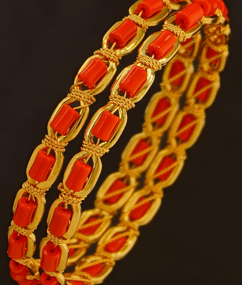 BNG199 - 2.8 Size Traditional Coral Bangles Designs Dye Gold Bangles Buy Online