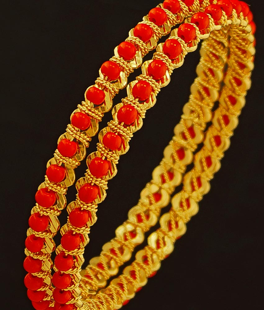 Bng202 - 2.6 Size Coral Gold Bangles Design One Gram Gold Pavalam Valayal Designs Online