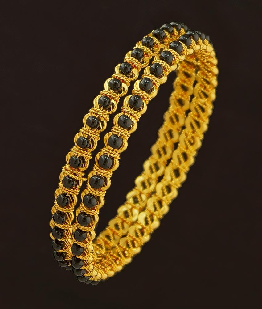 Bng203 - 2.6 Size Traditional Black Beads Gold Bangles Design One Gram Gold Karimani Bangles Online