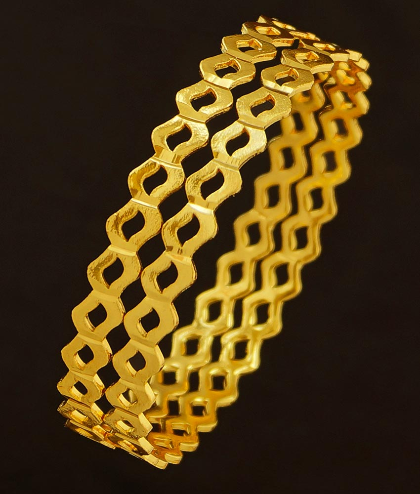 BNG204 - 2.6 Size New Design One Gram Gold Bangles Neli Valayal South Indian Guarantee Bangle Online