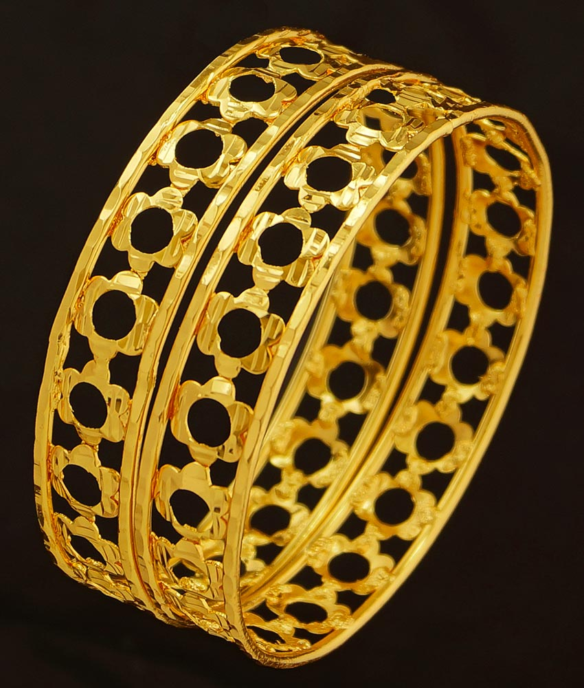 BNG206 - 2.6 Size Beautiful Flower Design Light Weight One Gram Gold Bangles for Women