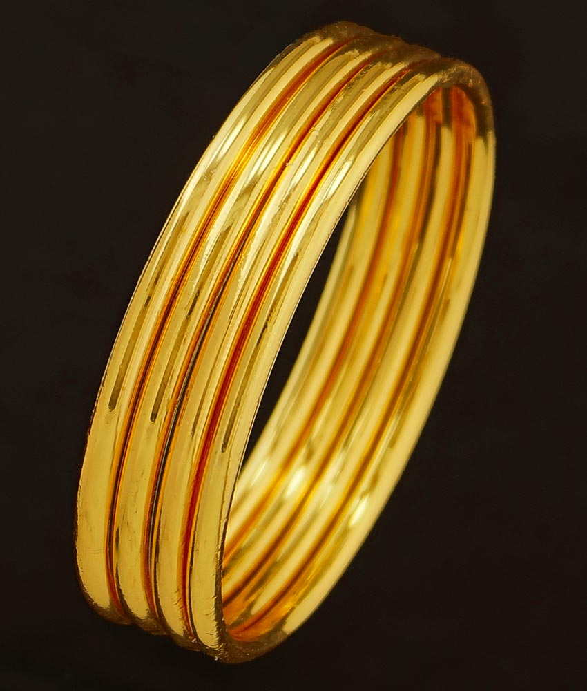 BNG209 - 2.6 Size Real Gold Design Heavy Plain Bangles Guarantee Bangles Design Set Of 4 Pcs for Daily Use