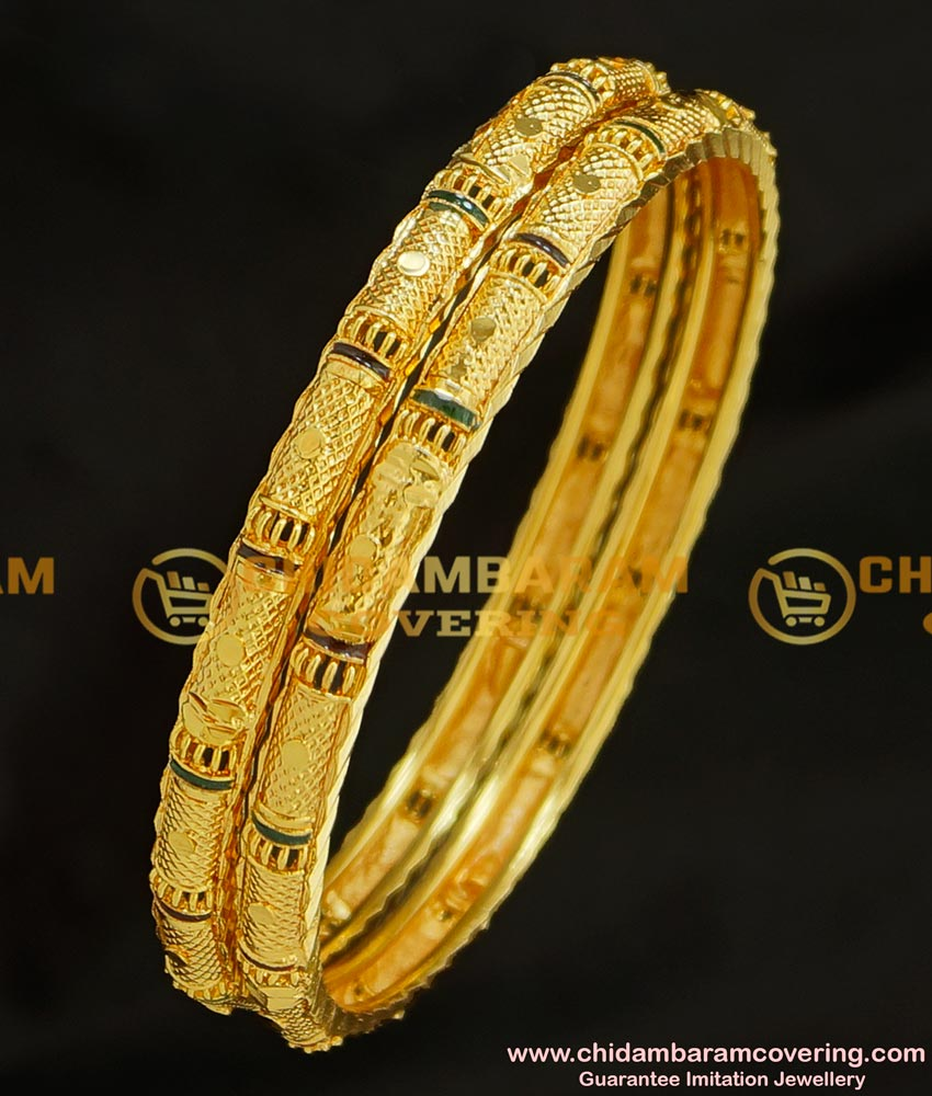 BNG211 - 2.6 Size Elegant Look Gold Plated Enamel Design Gold Plated Bangles