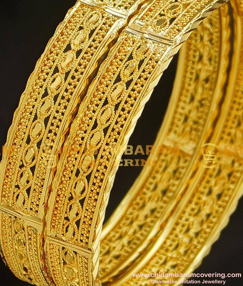 BNG213 - 2.6 Size New Pattern Gold Look Broad Bangles Design Gold Plated Jewellery