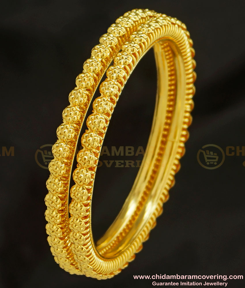 BNG218 - 2.8 Casual Daily Wear Flower Design Gold Plated Bangles Imitation Jewellery