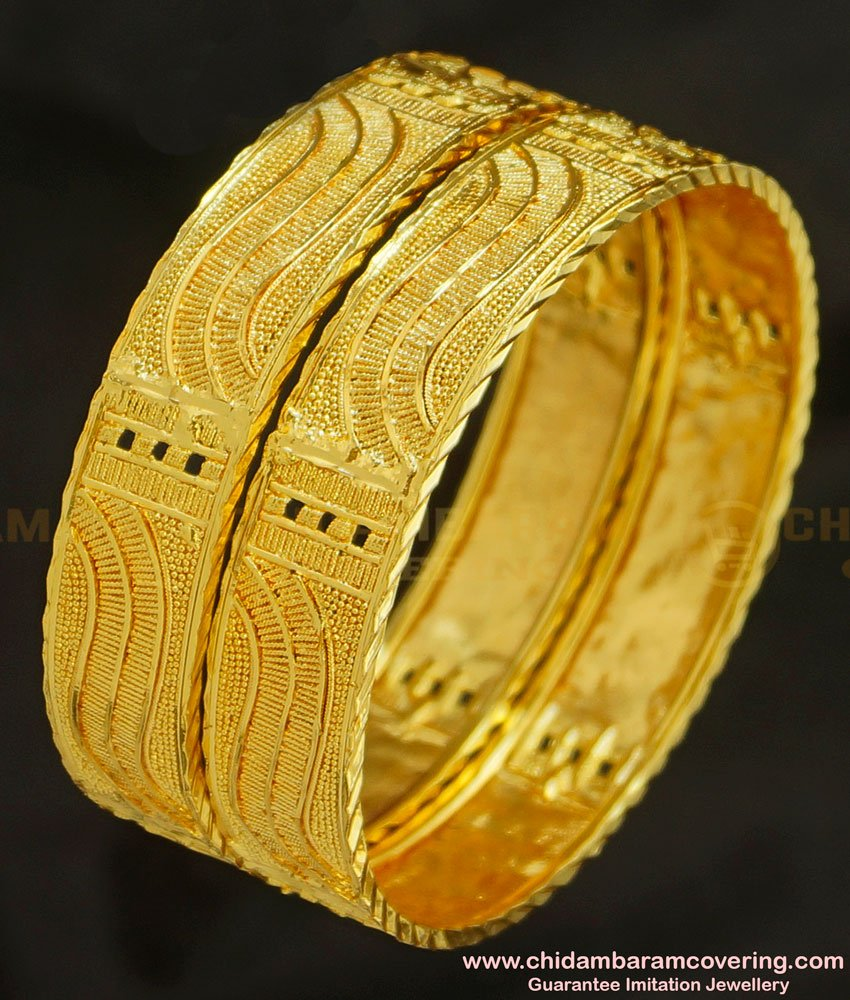 BNG219 - 2.8 Size Indian Bridal Gold Look Broad Plain Bangles Design Gold Plated Jewellery