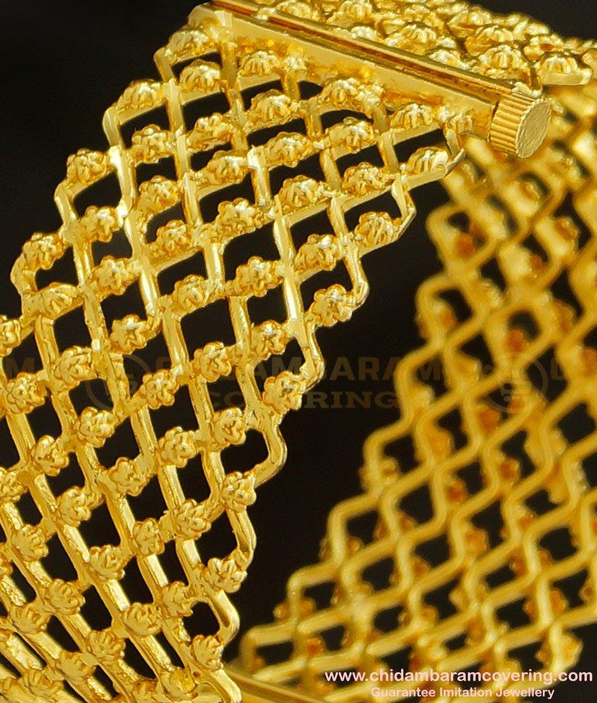 BNG220 - 2.4 Size One Gram Gold Screw Type Gold Inspired Zig Zag Design Single Kada Bangle