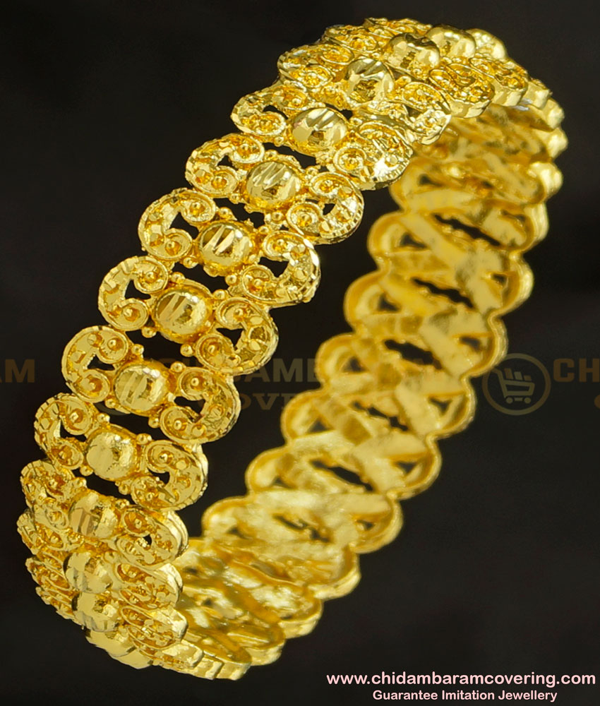 BNG226 - 2.8 Size 1 Gram Gold Party Wear Broad Single Piece Designer Bangle for Women