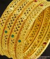 BNG231 - 2.8 Size Bridal Wear Hand Work Red and Green Stone Gold Forming Bangles 4 Pieces Set Best Price Online