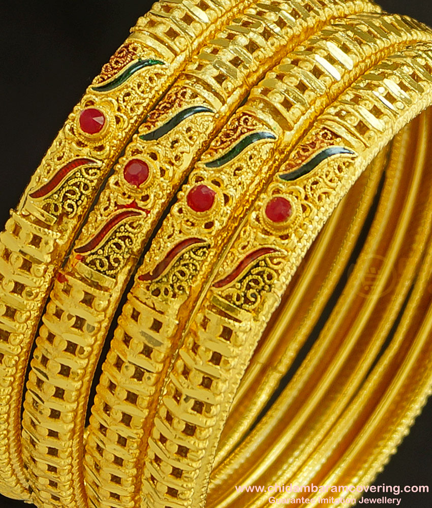 BNG232 - 2.4 Size First Quality One Gram Gold Forming Bridal Wear Enamel with Red Stone Gold Forming Set Of 4 Bangles Online