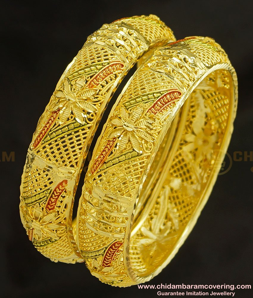 BNG235 - 2.10 Size Gold Forming Floral Design Traditional Calcutta Bangles Set Of 2 Pieces Indian Wedding Bangles Set Online