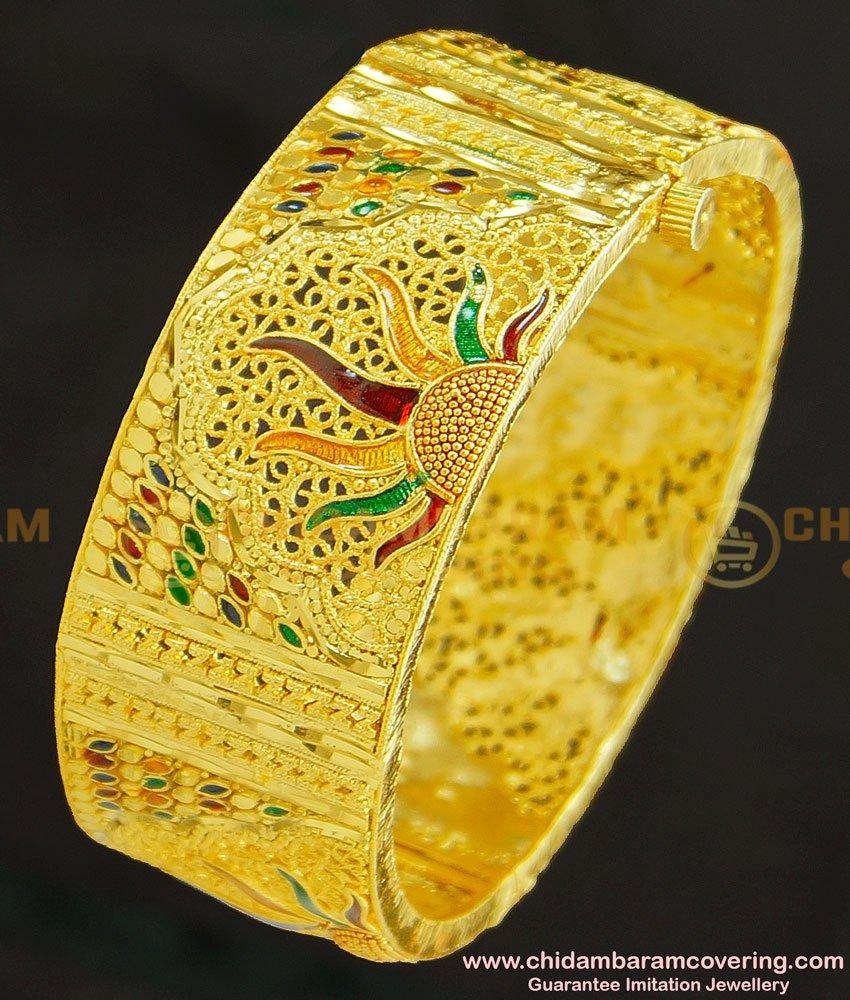 BNG248 -2.8 Size Chidambaram Covering 1 Gram Gold Forming Kada Bangle Screw Type Bangle