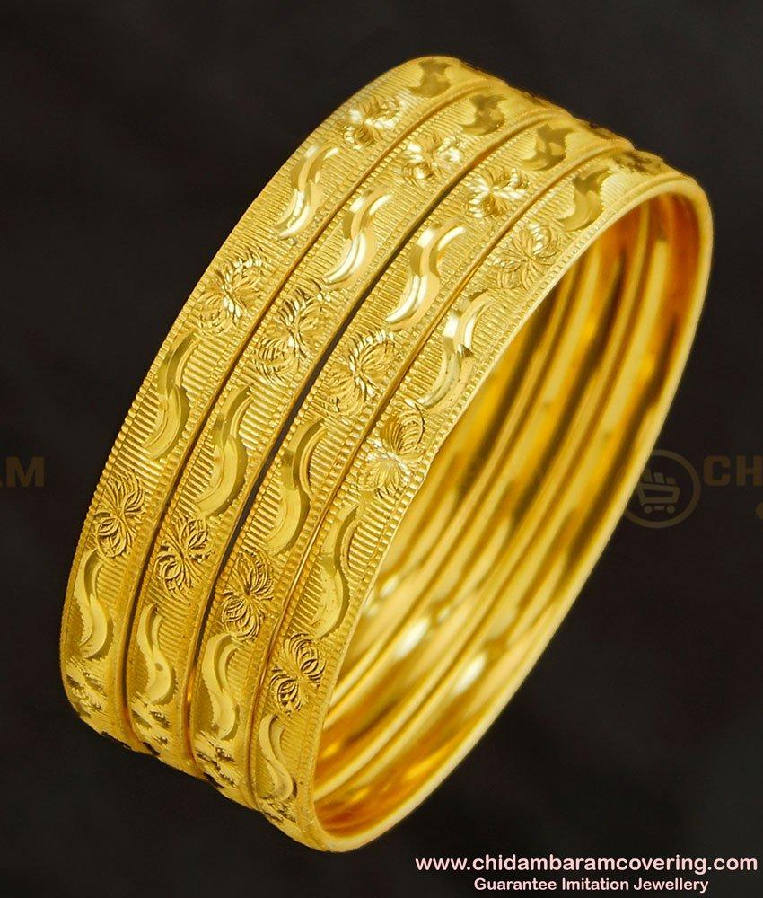 BNG273 - 2.4 Size 4 Bangles Set Floral Design Broad Border Bangles Design Indian Wedding Jewellery
