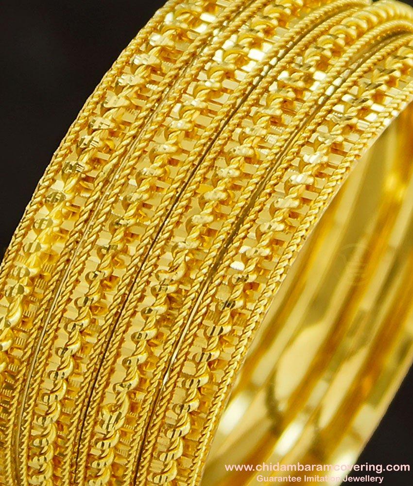 BNG274 - 2.4 Size Latest Bridal Wear Spiral Design Gold Finish Designer 4 Bangles Set Online