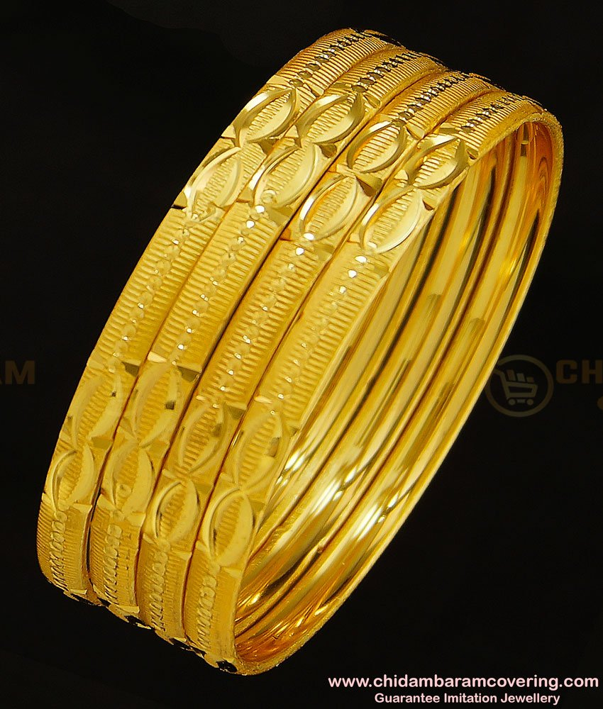 BNG279 - 2.10 Size Set Of 4 Pieces Diamond Cut Bangles Design Indian Imitation Jewellery