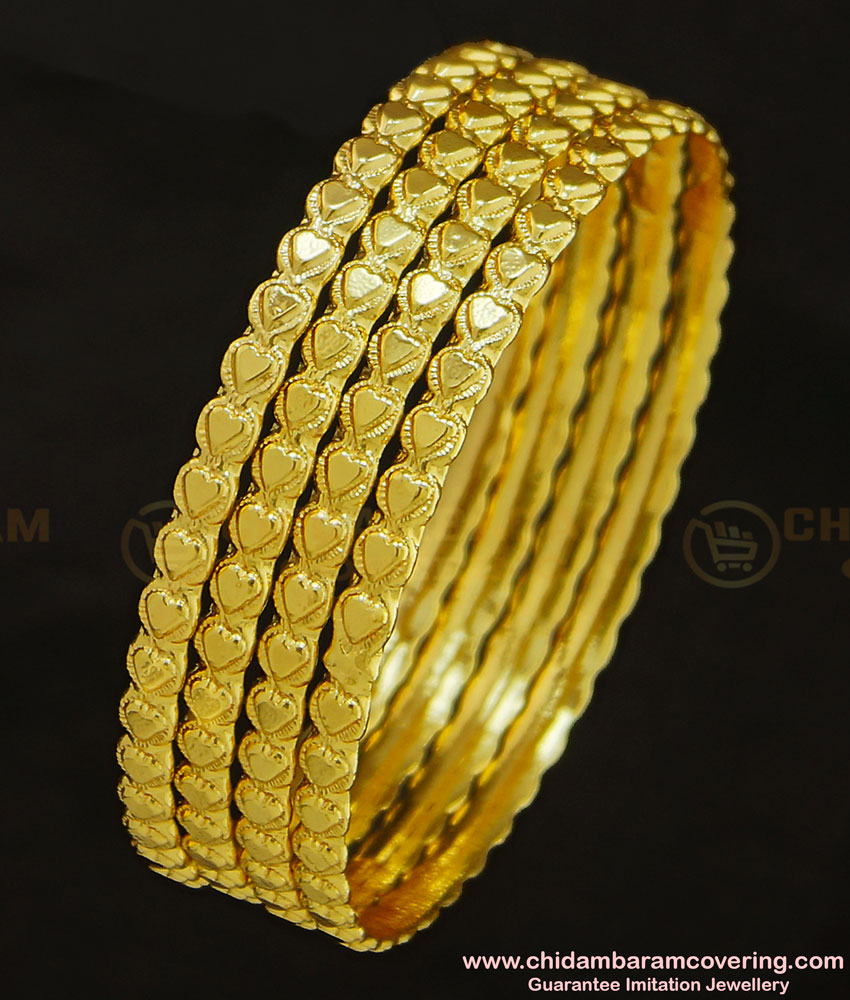 BNG286 - 2.6 Size Traditional Heart Design Hot Sale Bangles 4 Pcs Set Daily Wear Collection Online