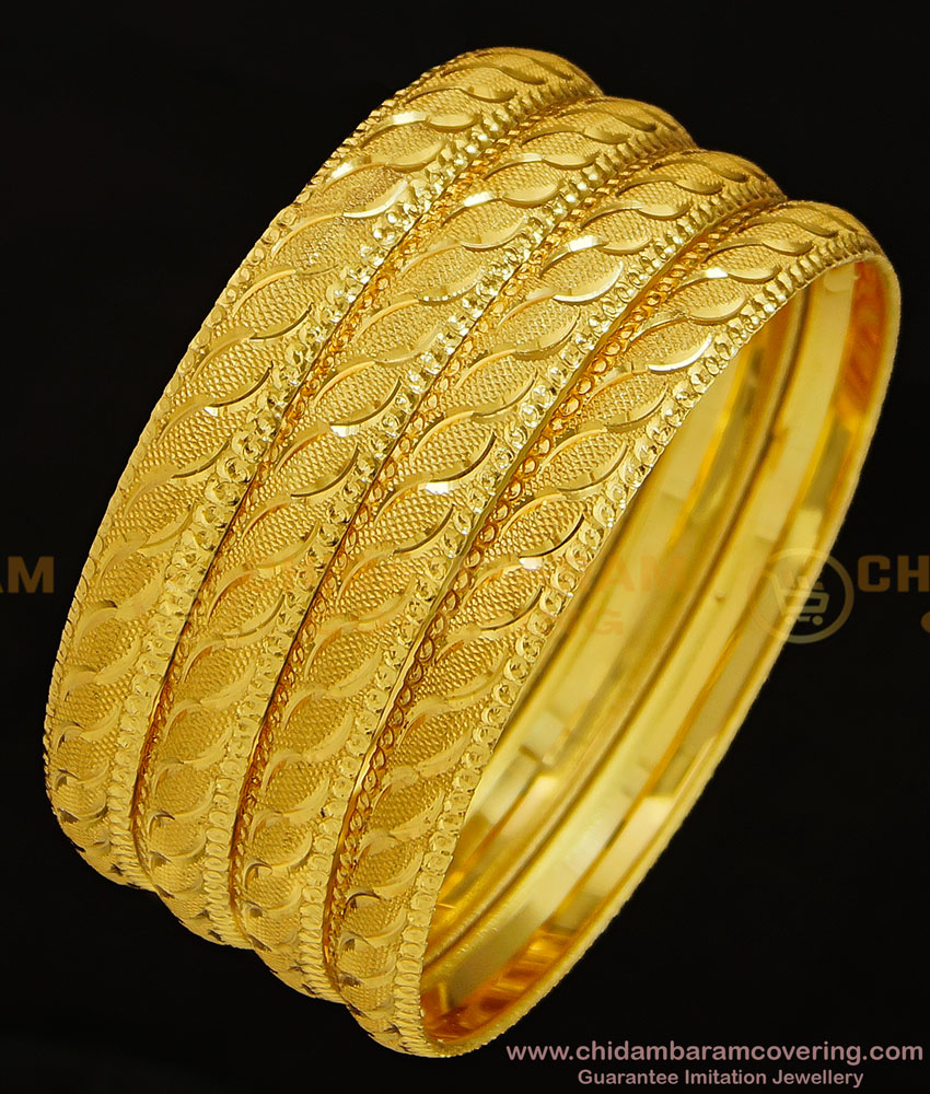 BNG294 - 2.8 Size Daily Wear Handcrafted Designer Broad 4 Bangles Set Best for Women