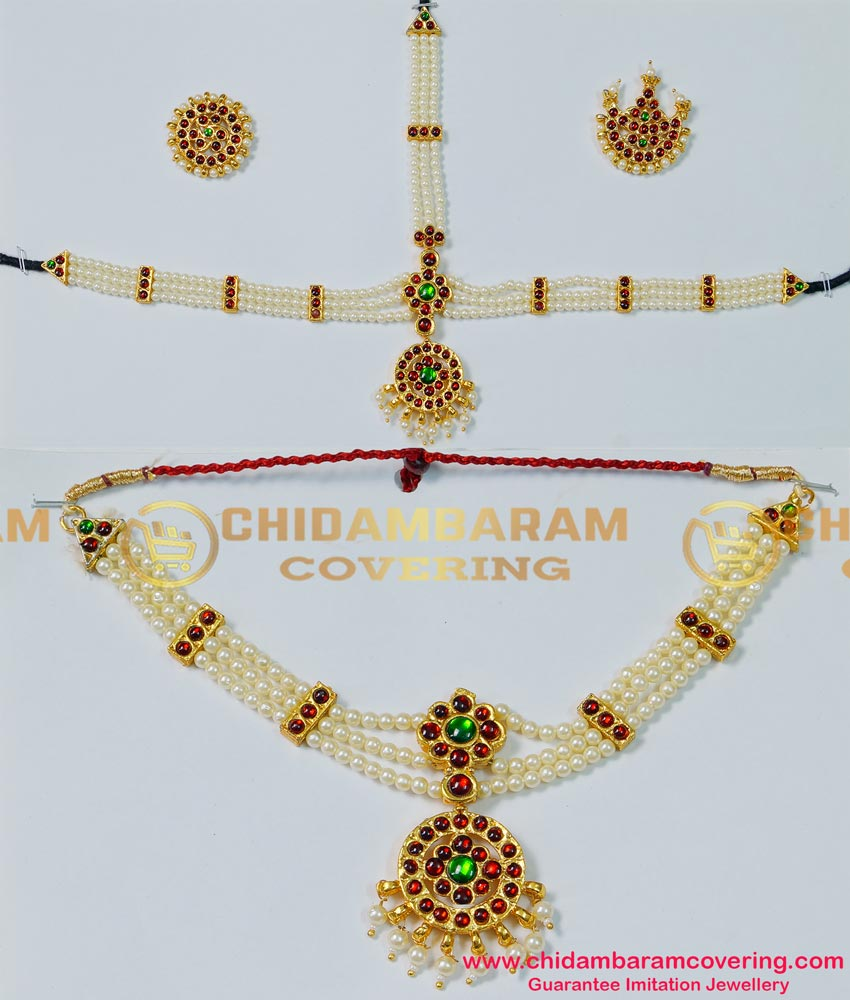 BNS01- Complete Set Bharatanatyam Jewellery with All The 10 Separate Ornaments