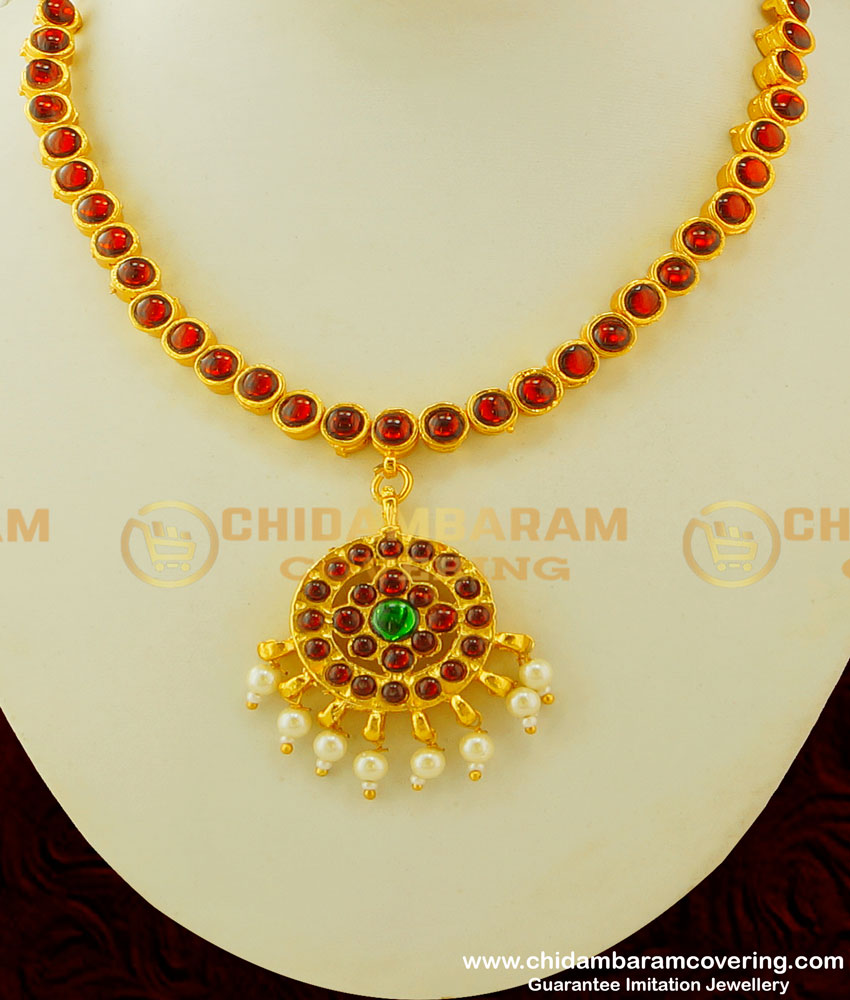 BNS07 - Temple Necklace Maroon and Green with Pearl Necklace Traditional Indian Jewellery Buy Online