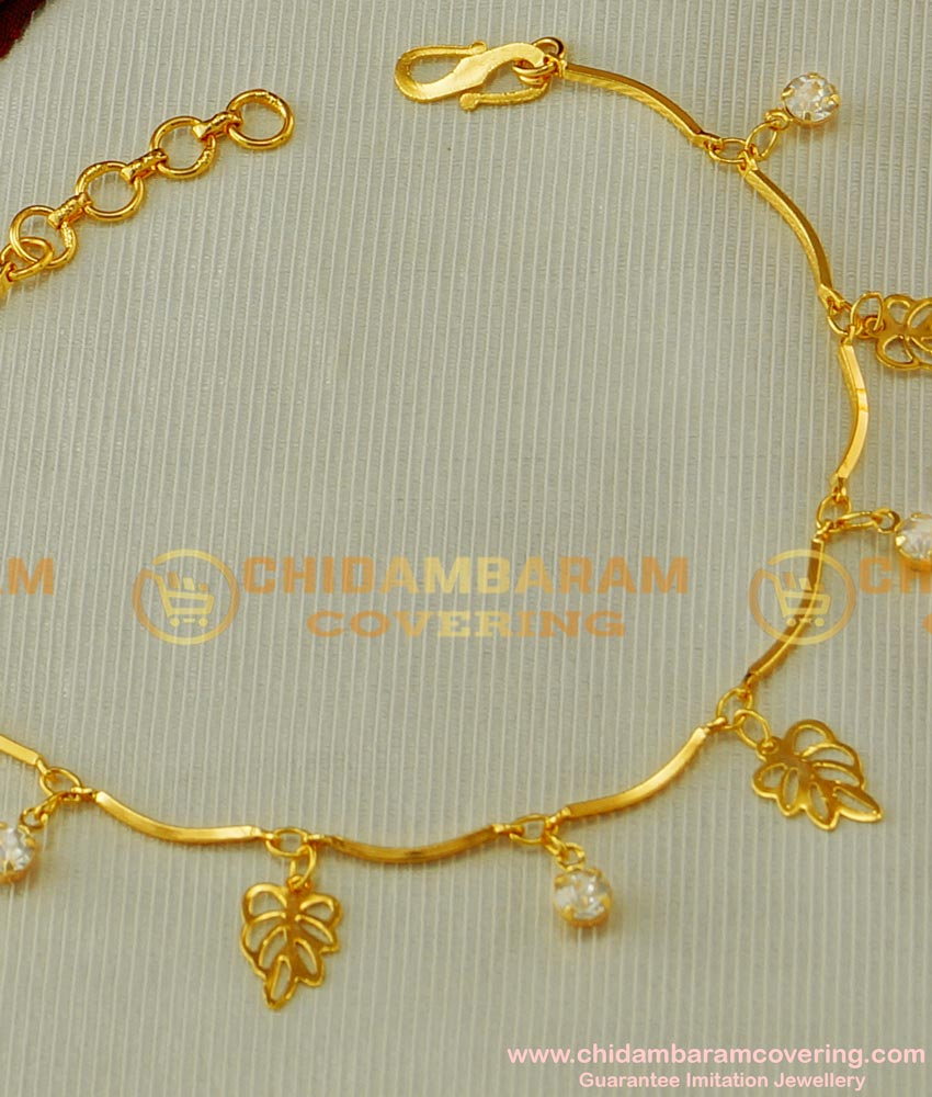 BCT45 - Unique Bracelet with Hanging Leaf and Stone Bracelet Artificial Jewellery Buy Online