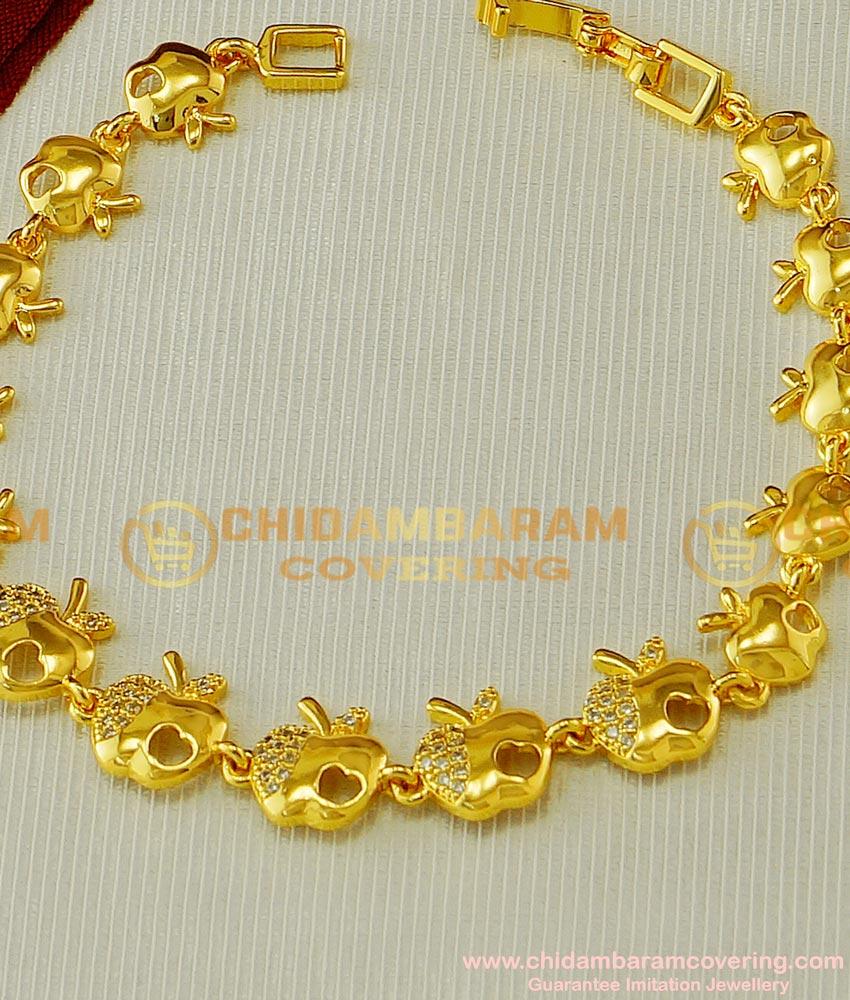 BCT60 - Attractive White Stone Golden Apple Design Low Price Bracelet Buy Online