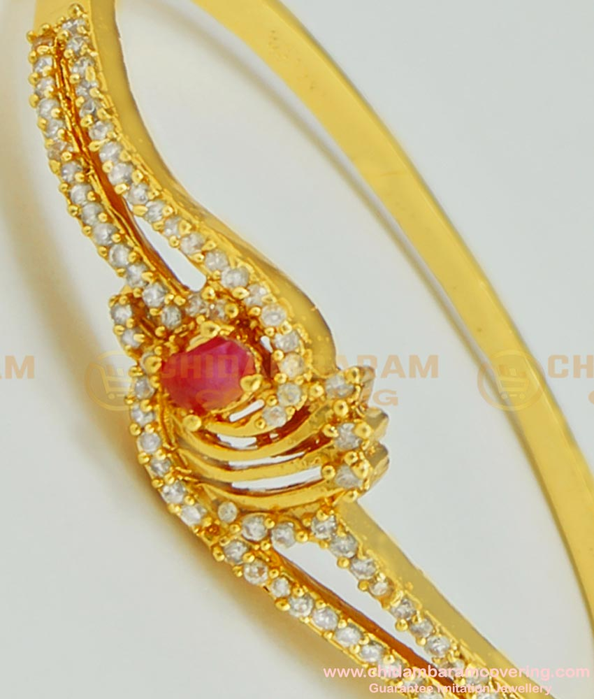 BCT63 - 2.2 size Gold Look Party Wear High Quality CZ Stone Gold Plated Lock Open Type Bracelet for Baby Girls