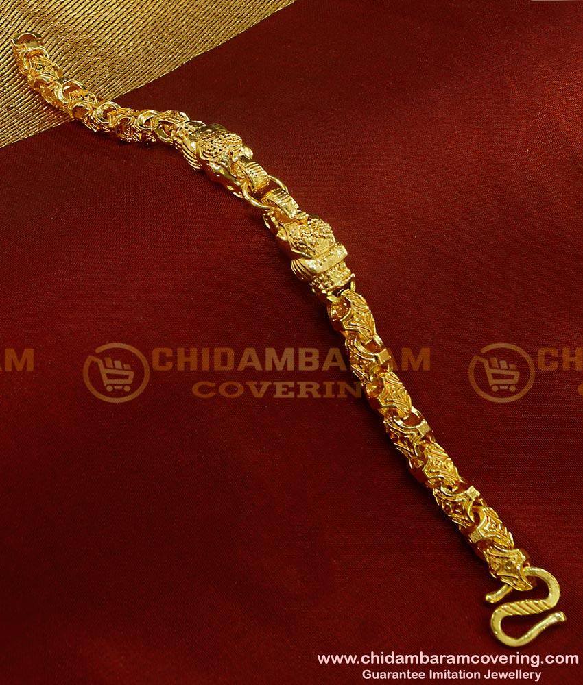 BCT66 - Trendy Gold Plated Elephant Head Design Heavy Men's Hand Bracelet Imitation Jewelry
