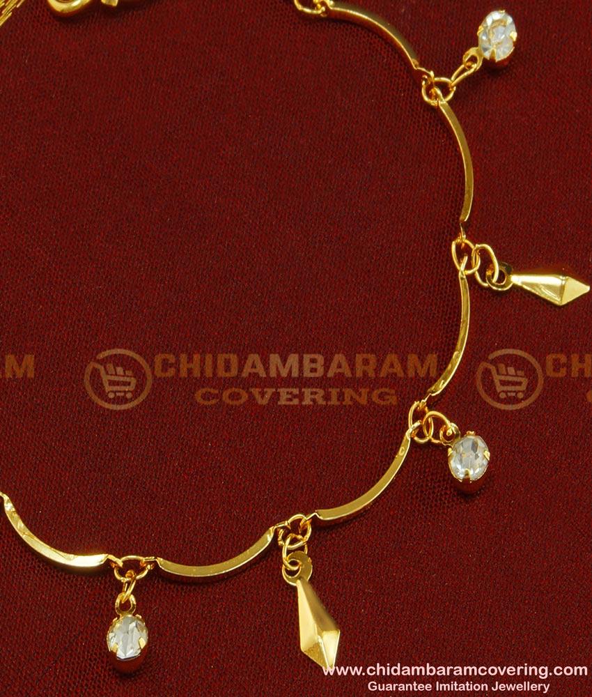 BCT69 - Trendy Gold Plated Ad Stone Hanging Bracelet Design for Teenage Girls