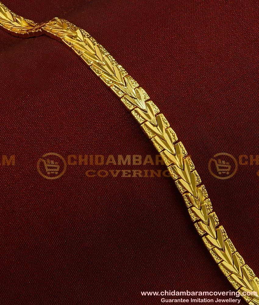 BCT81 - Unique Light Weight Party Wear One Gram Gold Bracelet Design for Male