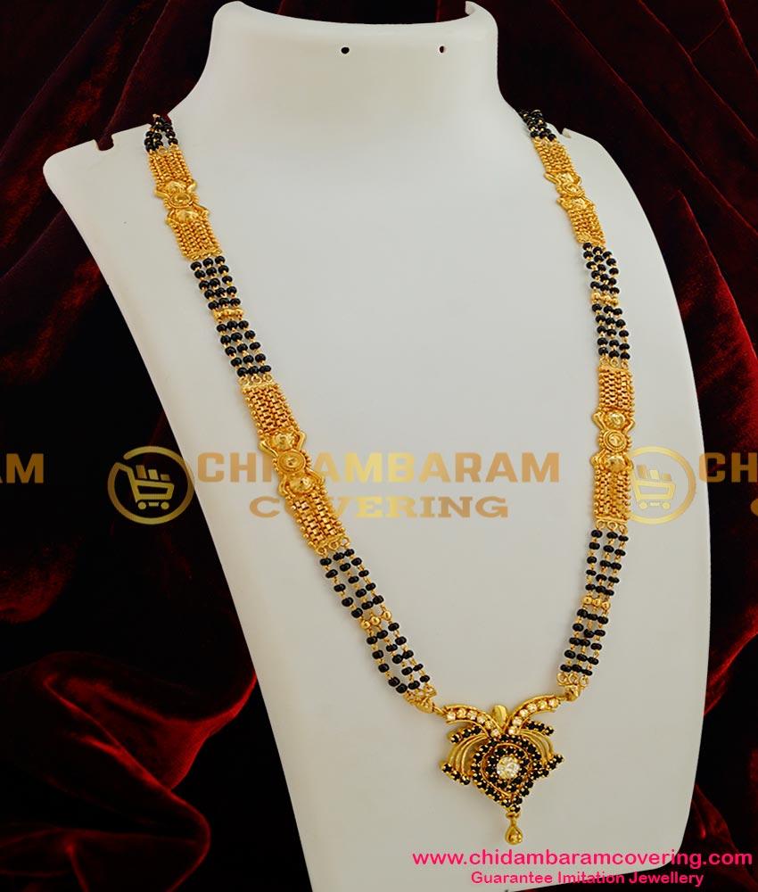 CHN006 - Three Line Karishma Mangalsutra Chain (Karugamani Chain) with Stone Pendant