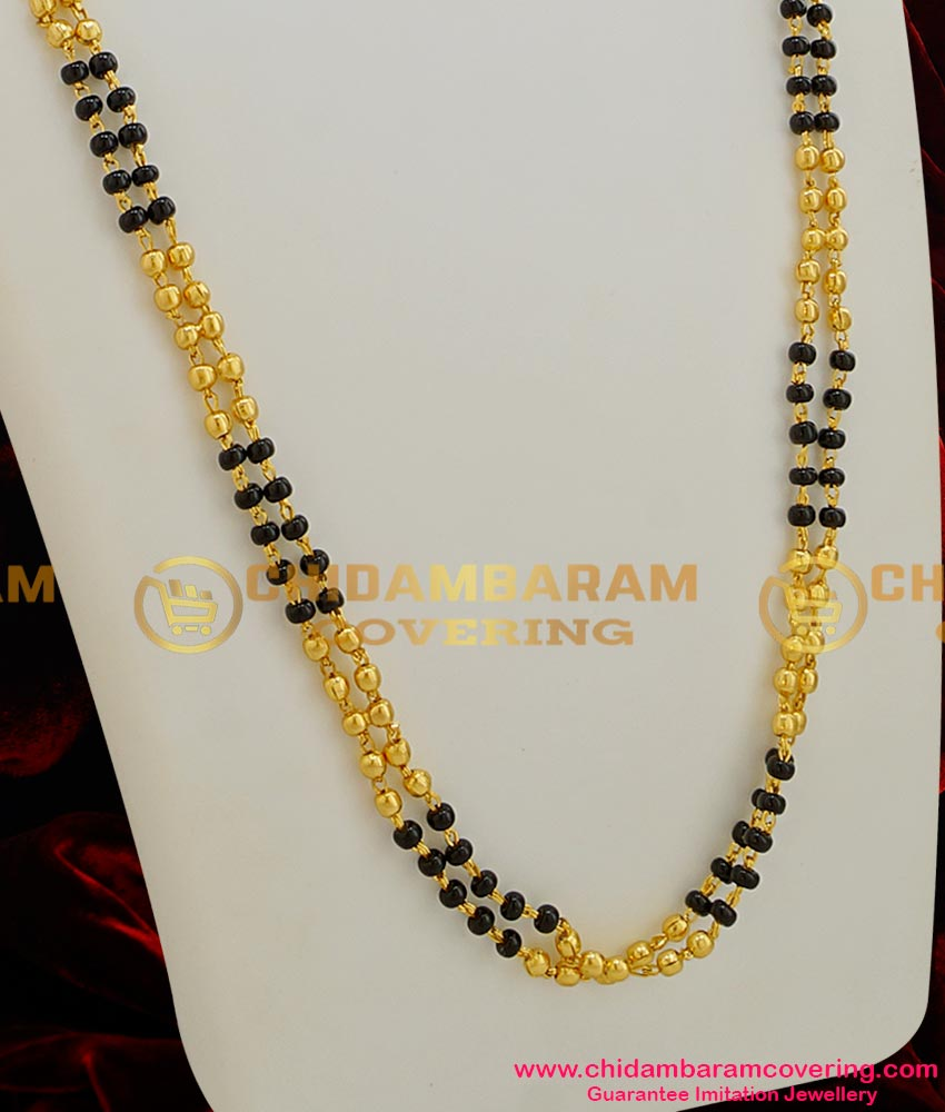 CHN007-LG - 30 inches Gold Plated Two Line Mangalsutra Chain (Karugamani Chain)